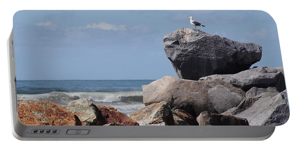 Beach Portable Battery Charger featuring the photograph King Of The Rocks by Margie Wildblood