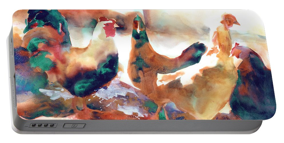 Paintings Portable Battery Charger featuring the painting King Of The Roost by Kathy Braud