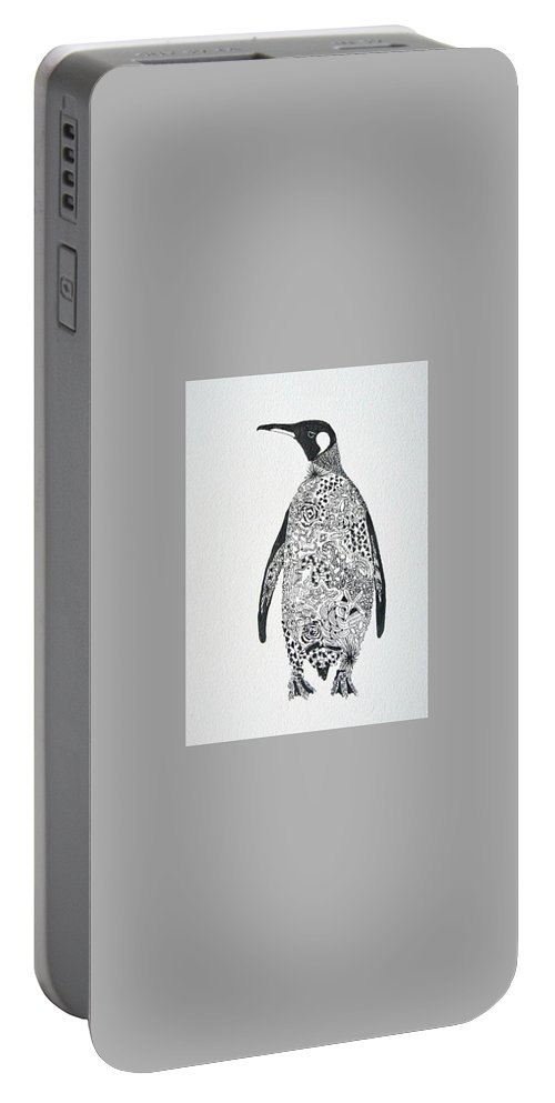 Penguin Portable Battery Charger featuring the painting King Penguin by Yvonne Ankerman