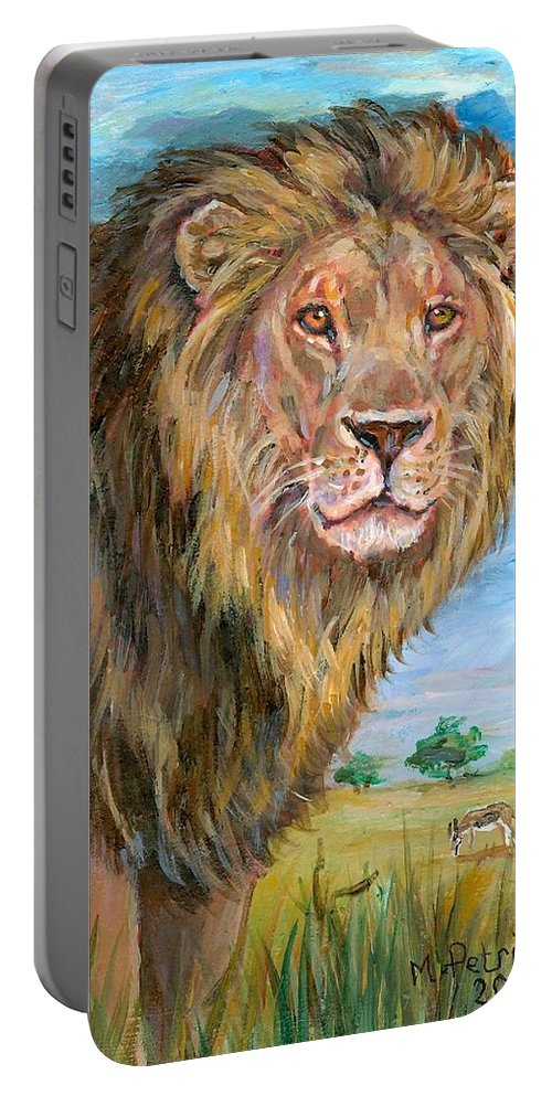Cecil Lion Portable Battery Charger featuring the painting Kingdom Of The Lion by Melanie Petridis