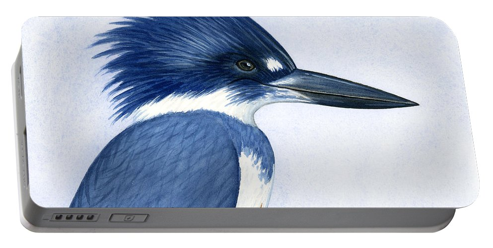 Kingfisher Portable Battery Charger featuring the painting Kingfisher Portrait by Charles Harden