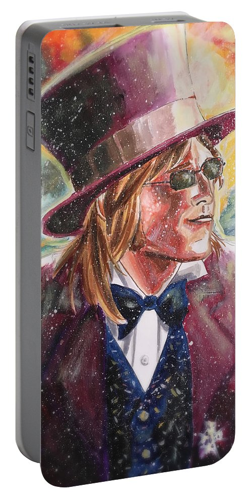 Tom Petty Portable Battery Charger featuring the painting King's Highway by Joel Tesch