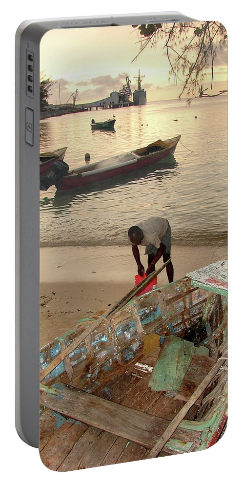 Kingston Portable Battery Charger featuring the photograph Kingston Jamaica Beach by Brett Winn