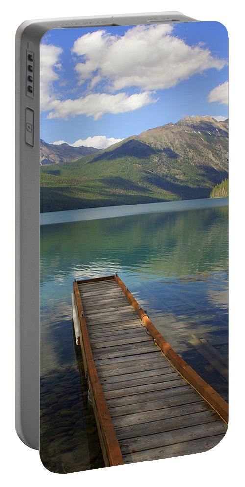 Glacier National Park Portable Battery Charger featuring the photograph Kintla Lake Dock by Marty Koch