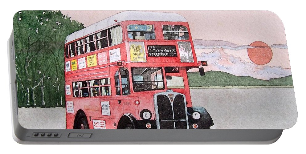 Bus Portable Battery Charger featuring the painting Kirkland Bus by Gale Cochran-Smith