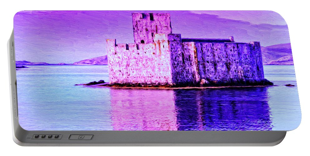 Castle Portable Battery Charger featuring the painting Kisimul Castle by Dominic Piperata
