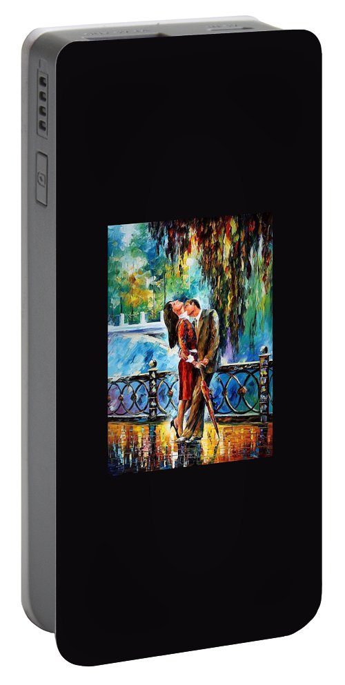 Afremov Portable Battery Charger featuring the painting Kiss by Leonid Afremov