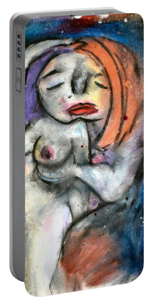 Nudes Portable Battery Charger featuring the drawing Kiss by Thomas Valentine