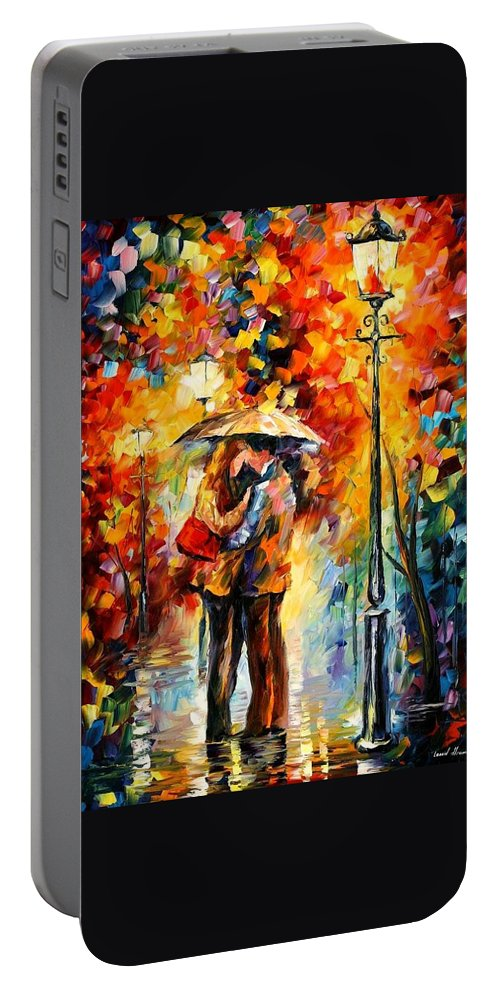 Afremov Portable Battery Charger featuring the painting Kiss Under The Rain by Leonid Afremov