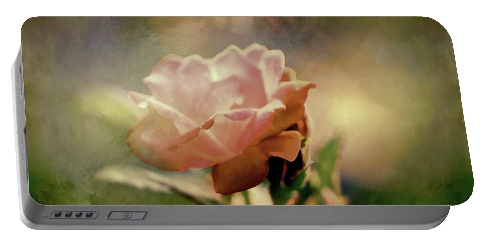 Roses Portable Battery Charger featuring the photograph Kissed By A Rose by Theresa Campbell