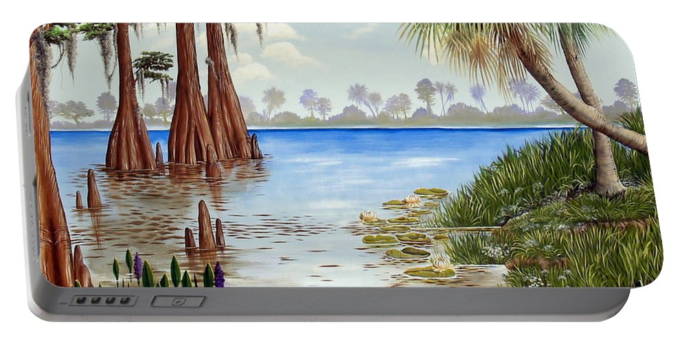 Nature Portable Battery Charger featuring the painting Kissimee River Shore by Monica Turner