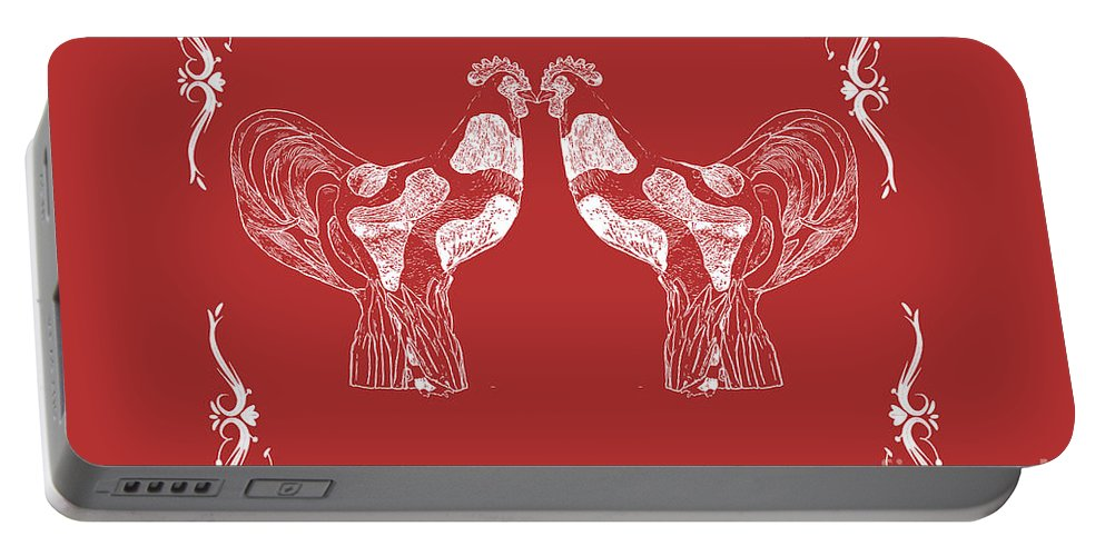 Roosters Portable Battery Charger featuring the photograph Kissing Roosters 4 by Emily Kay