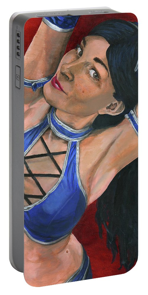Cosplay Portable Battery Charger featuring the painting Kitana by Matthew Mezo