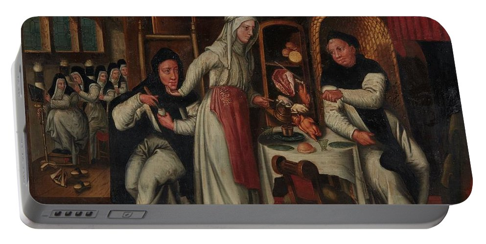 Flemish School Portable Battery Charger featuring the painting Kitchen In A Convent by MotionAge Designs