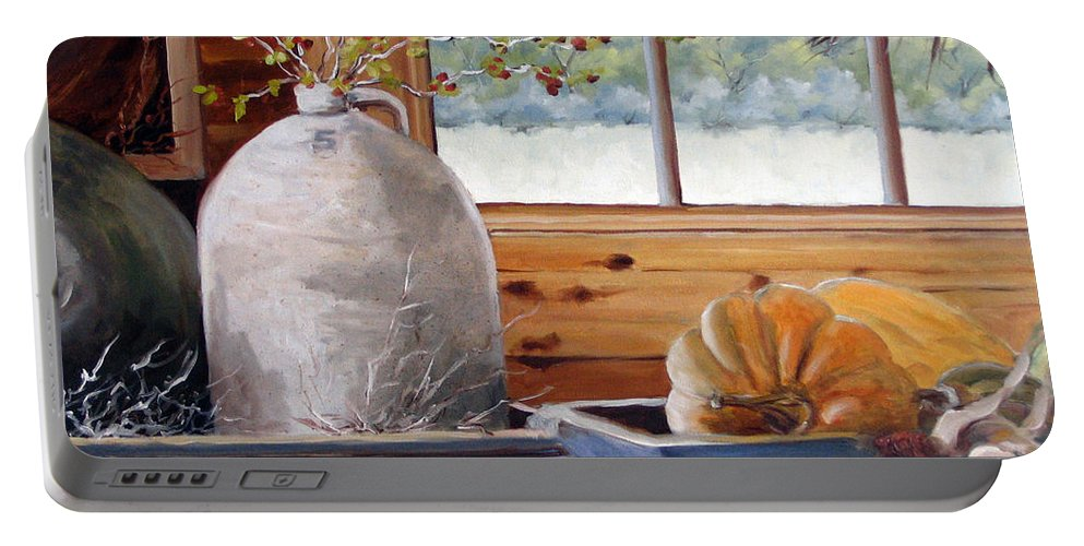 Kitchen Portable Battery Charger featuring the painting Kitchen Scene by Richard T Pranke
