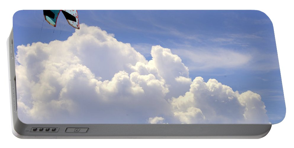 Kite Portable Battery Charger featuring the photograph Kite In The Clouds Obx Buxton North Carolina by Mark Holden