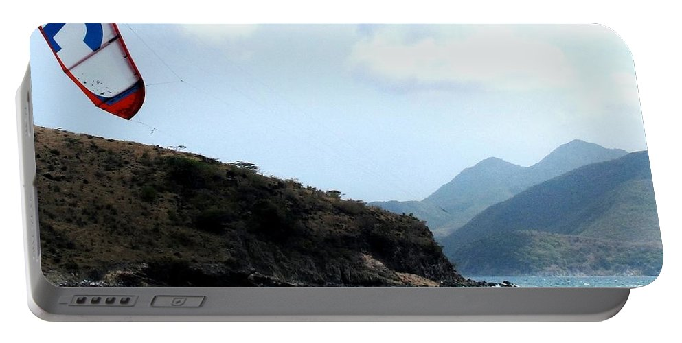 Kite Portable Battery Charger featuring the photograph Kite Surfer St Kitts by Ian MacDonald