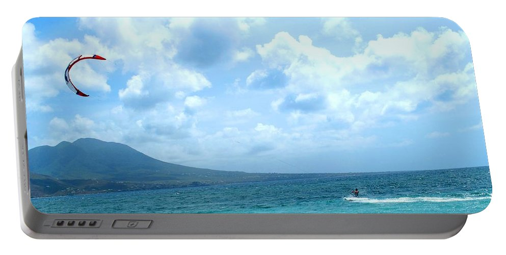Kite Portable Battery Charger featuring the photograph Kite Surfing With A Nevis Background by Ian MacDonald
