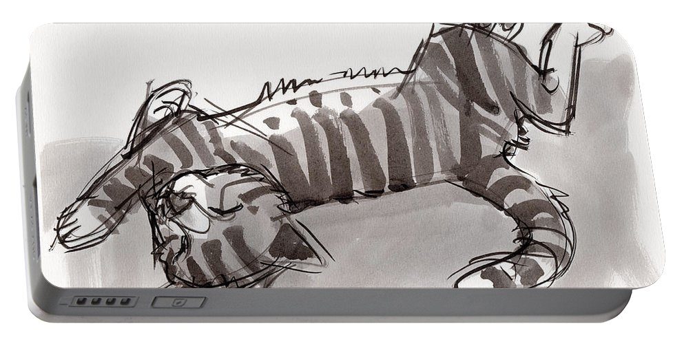 Animal Portable Battery Charger featuring the painting Happy Kitty by Judith Kunzle