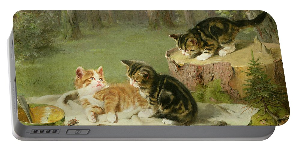 Kittens Playing (oil On Canvas) By Ewald Honnef (19th Century) Portable Battery Charger featuring the painting Kittens Playing by Ewald Honnef