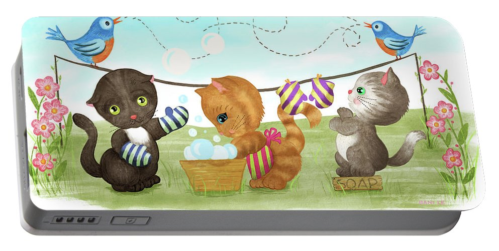 Kittens Portable Battery Charger featuring the painting Kittens Washing Mittens by Little Bunny Sunshine