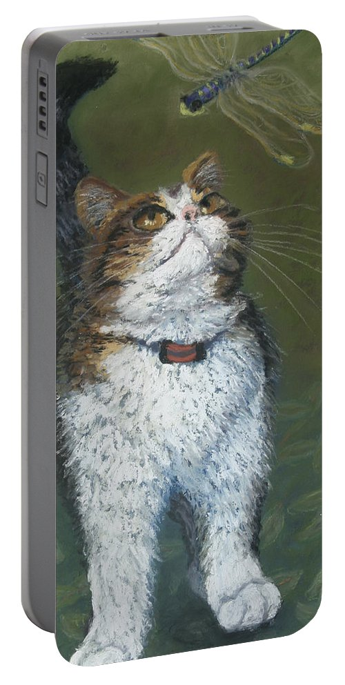 Cat Portable Battery Charger featuring the painting Kitty And Her Dragonfly by Minaz Jantz