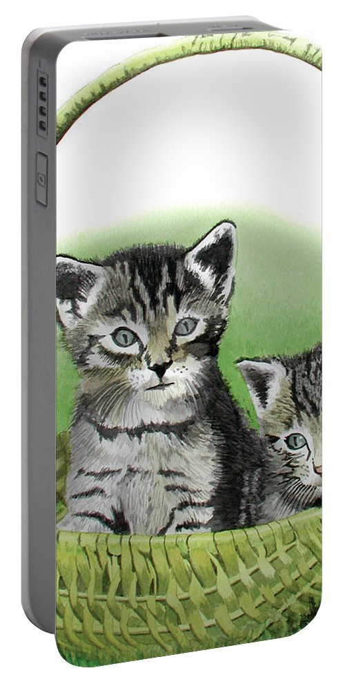 Cat Portable Battery Charger featuring the painting Kitty Caddy by Ferrel Cordle