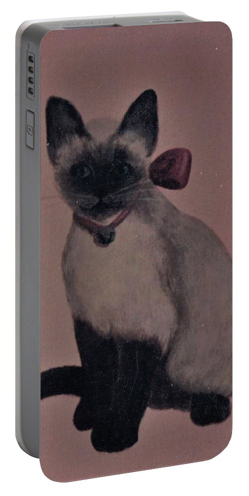 Kitty Cat Portable Battery Charger featuring the painting Kitty Cat by Suzn Art Memorial
