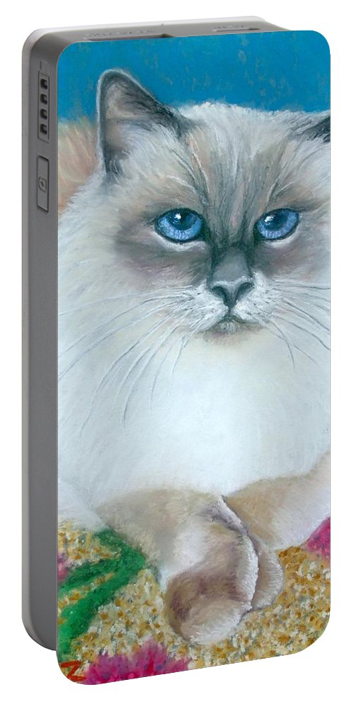 Cat Portable Battery Charger featuring the painting Kitty Coiffure by Minaz Jantz