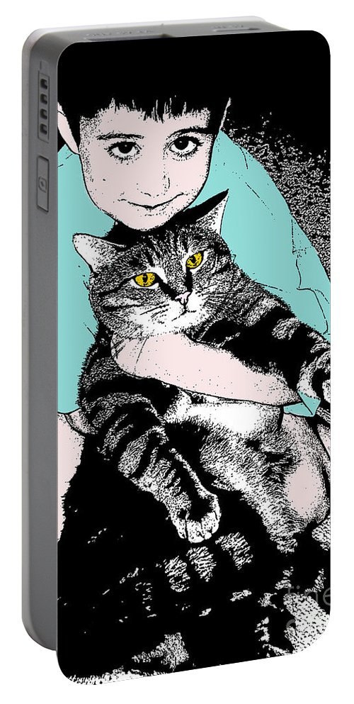 Cat Portable Battery Charger featuring the photograph Kitty Loves Me by Rhonda Chase