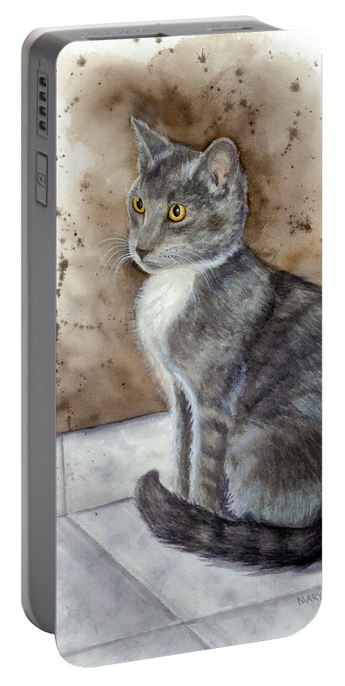 Cat Portable Battery Charger featuring the painting Kitty by Mary Tuomi