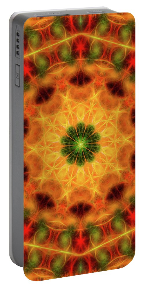 Mandala Art Portable Battery Charger featuring the painting Kiwi by Jeelan Clark