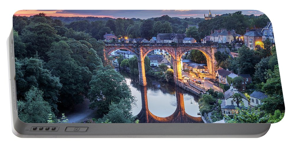 Britain Portable Battery Charger featuring the photograph Knaresborough Viaduct Floodlit At Dusk by Mark Sunderland