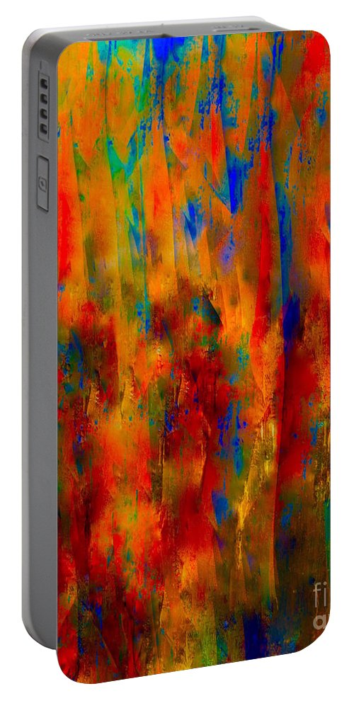 Abstract-painting-mixed-media Portable Battery Charger featuring the painting Knighthood In The Kingdom by Catalina Walker
