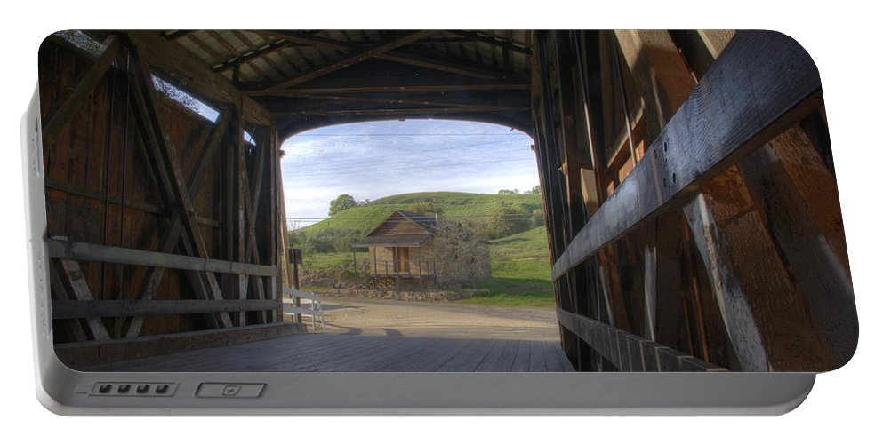 Knights Ferry Portable Battery Charger featuring the photograph Knights Ferry Covered Bridge by Jim And Emily Bush