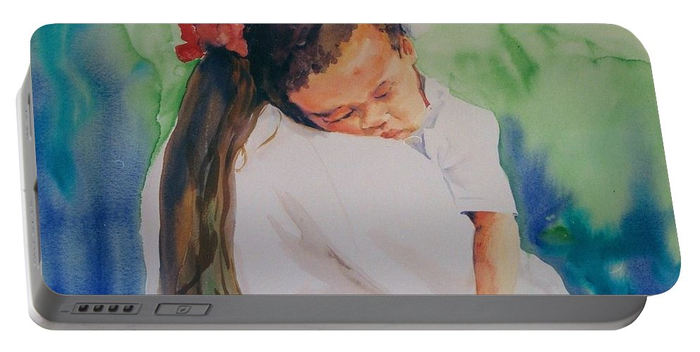 Original Custom Art Impressionistic Watercolor Mom And Baby Sleeping Portable Battery Charger featuring the painting Knocked Out by Maggie Clark