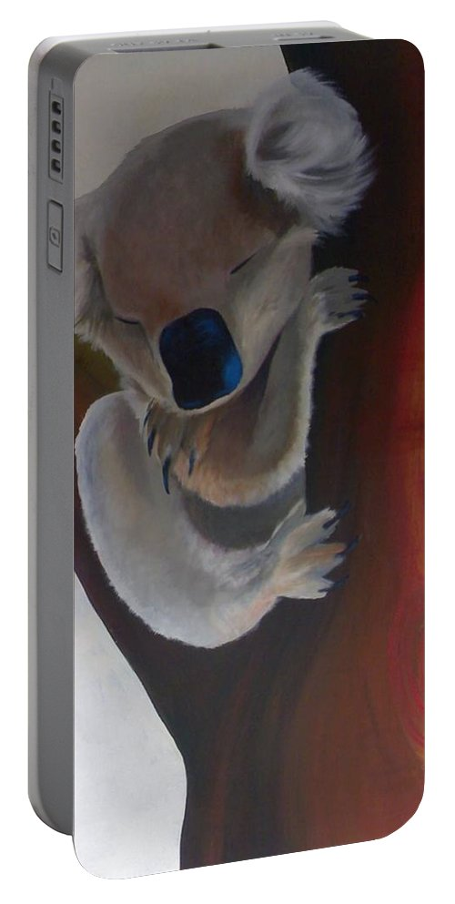 Koala Portable Battery Charger featuring the painting Koala by Catt Kyriacou