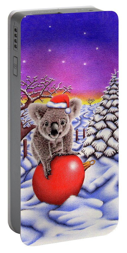 Christmas Card Portable Battery Charger featuring the drawing Koala On Christmas Ball by Remrov