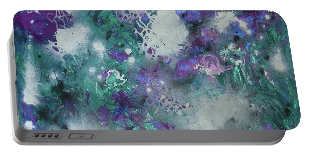 Greens Portable Battery Charger featuring the painting Kohinoor 3 by Mini Arora