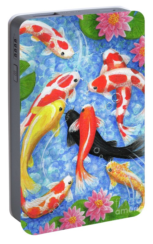 Koi Portable Battery Charger featuring the painting Koi Fish by Julia Underwood