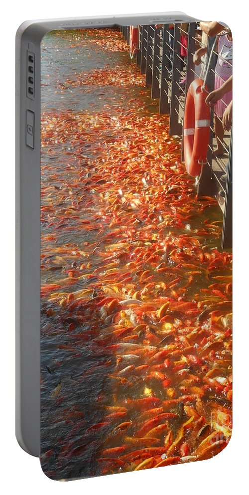 Koi Portable Battery Charger featuring the photograph Koi Fishes In Feeding Frenzy Part Two by Christopher Shellhammer