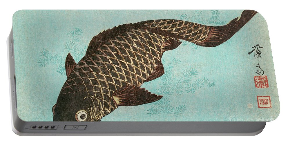 Carp Portable Battery Charger featuring the painting Koi by Keisai Eisen