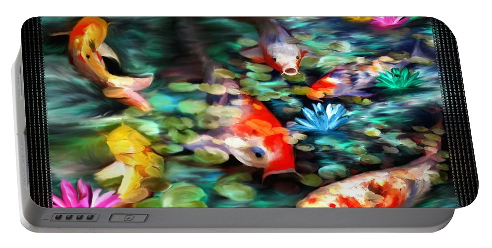Koi Portable Battery Charger featuring the painting Koi Paradise by Susan Kinney