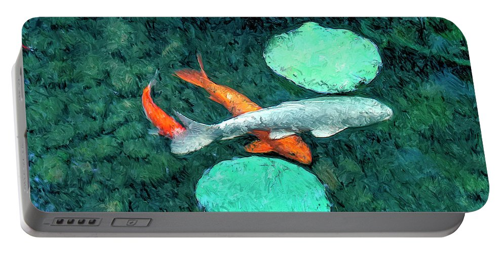 Koi Portable Battery Charger featuring the painting Koi Pond 3 by Dominic Piperata