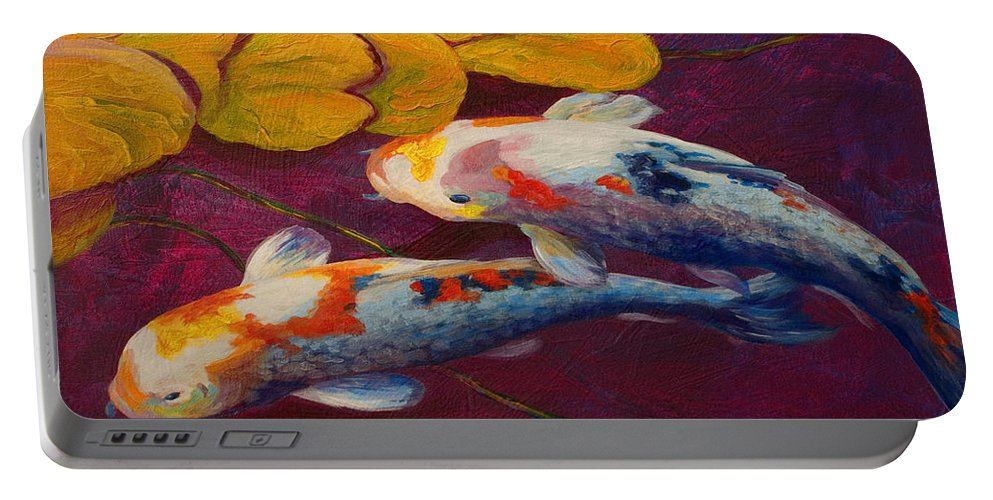 Water Lily Portable Battery Charger featuring the painting Koi Pond II by Marion Rose