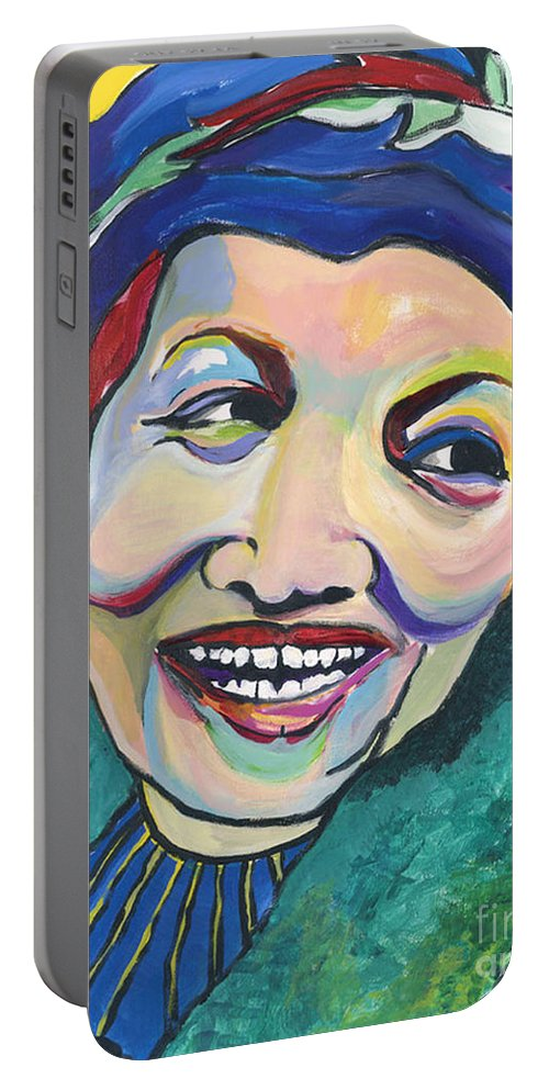Hat Portable Battery Charger featuring the painting Koko Vivienne by Pat Saunders-White