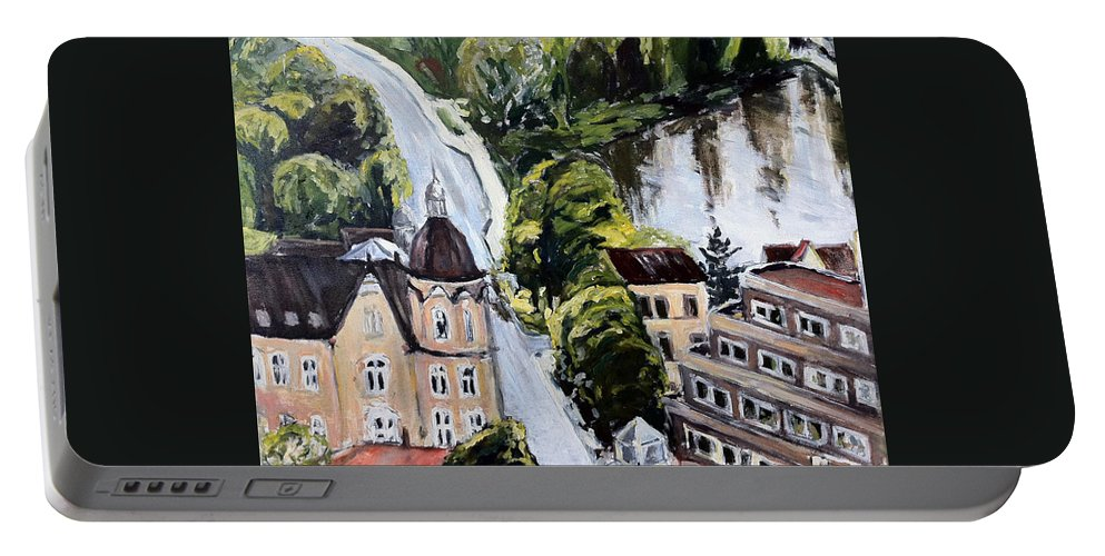 Landscape Portable Battery Charger featuring the painting Komunistickej Humus A by Pablo de Choros