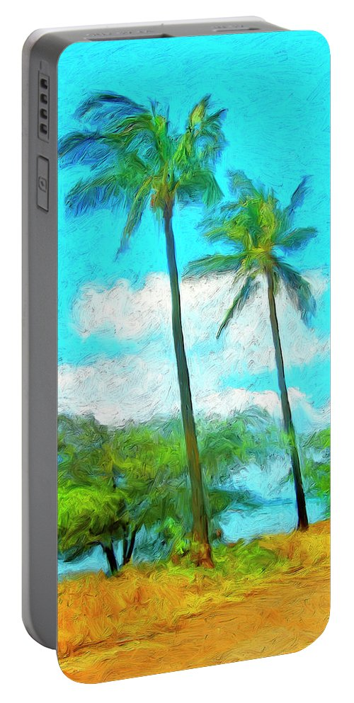 Hawaii Portable Battery Charger featuring the painting Kona Palms by Dominic Piperata