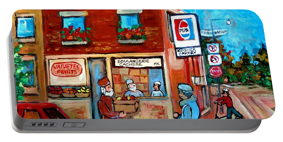 Kosher Bakery Portable Battery Charger featuring the painting Kosher Bakery On Hutchison Street by Carole Spandau