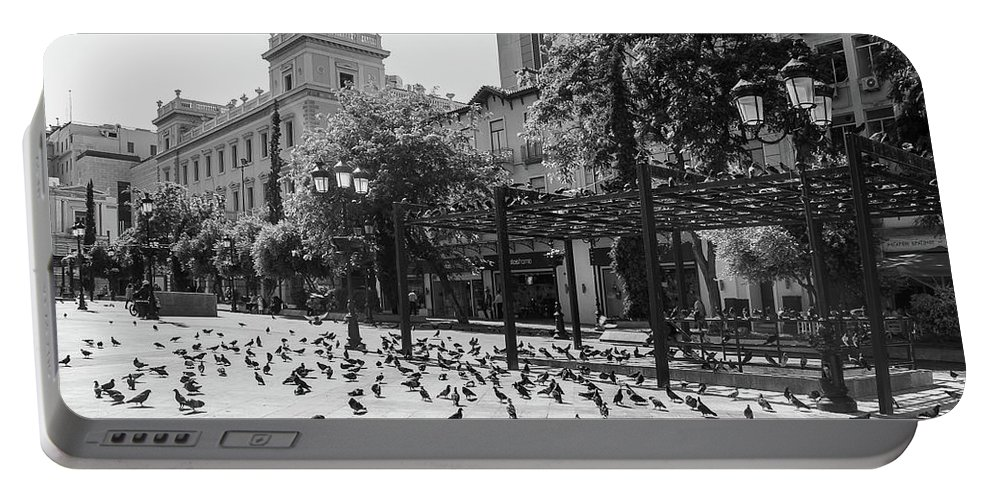 Square Portable Battery Charger featuring the photograph Kotzia Square, Athens by Debra Cox
